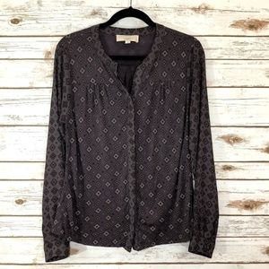 LOFT Purple Long Sleeved Button Up Blouse